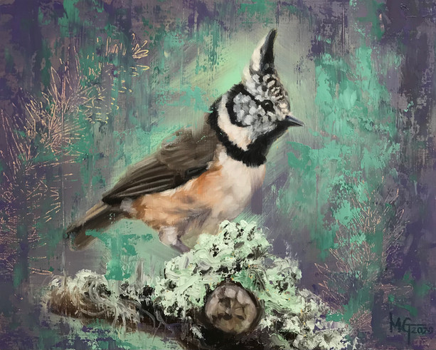 "Crested Tit with Lichen 10""x8"""