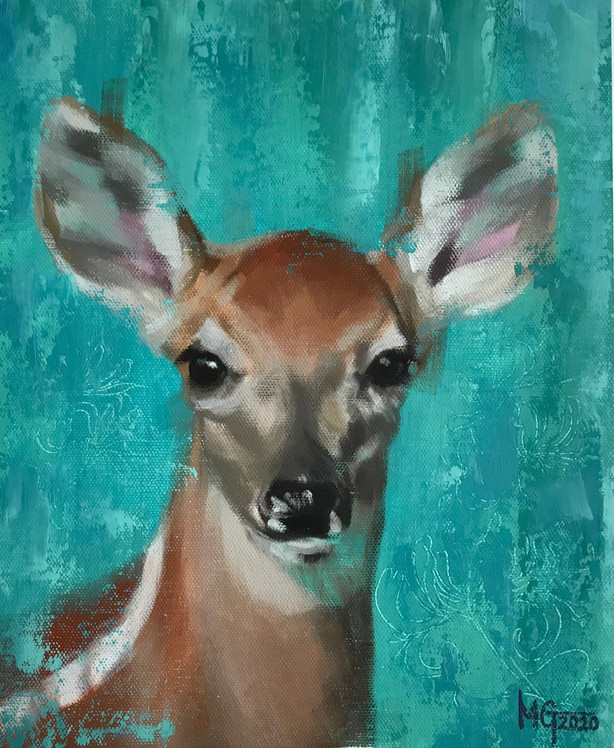 "Fawn with Honeysuckle 10""x12"""
