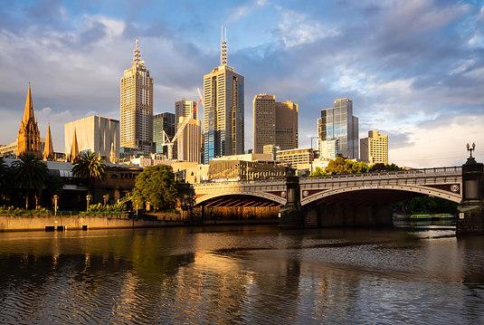 Sun Going Down over Melbourne Skyline
