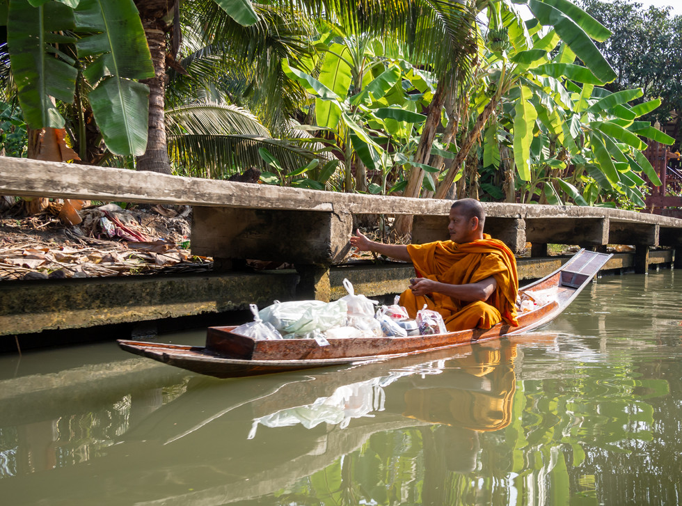 Buddhist Monk at the Floating Market