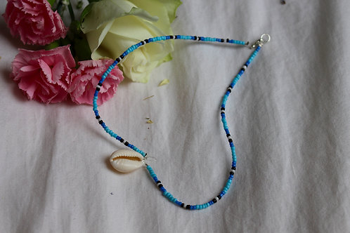 Blue Lizard Cowrie Necklace