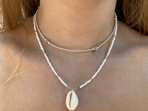 Silver Flash Cowrie Shell Necklace