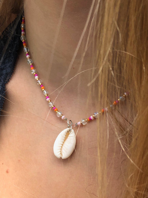 Pink Moon Cowrie Shell Necklace