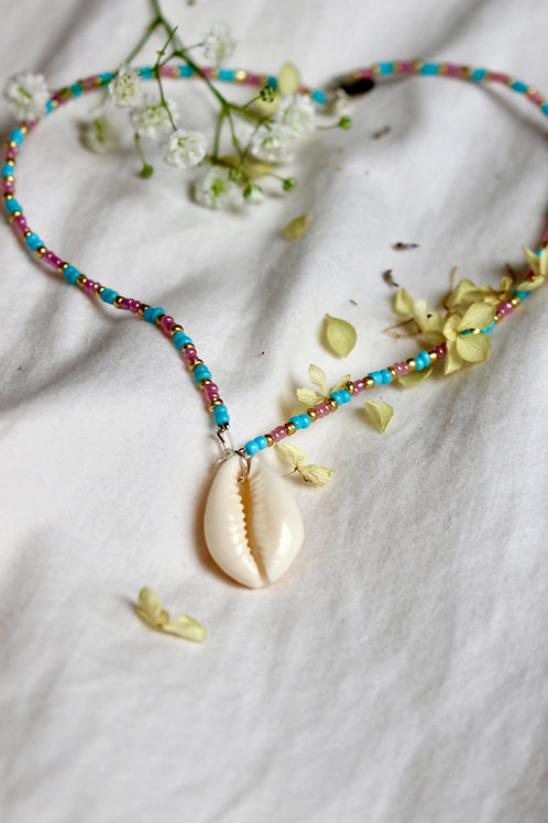 Lilac and Blue Cowrie Shell Necklace
