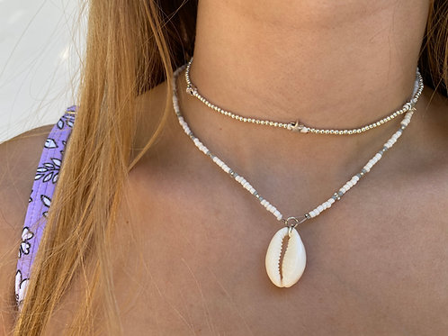 Grey Doves Cowrie Shell Necklace