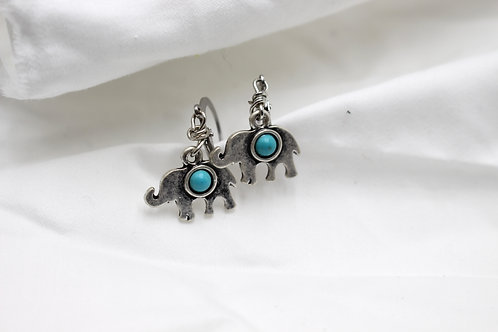 Blue Elephant Earrings