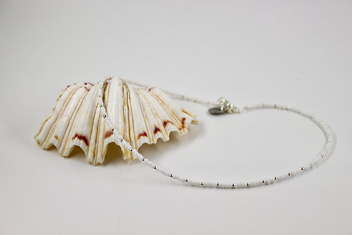 White with Silver Dots Beaded Necklace