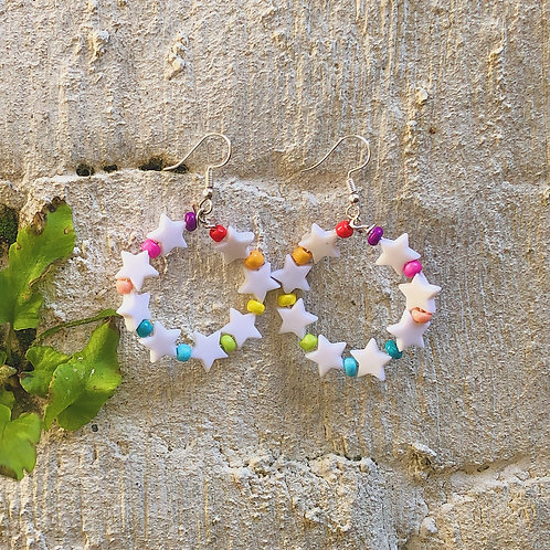 Large Rainbow Star Earrings