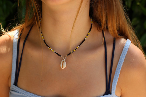 Black and Yellow Cowrie Shell Necklace