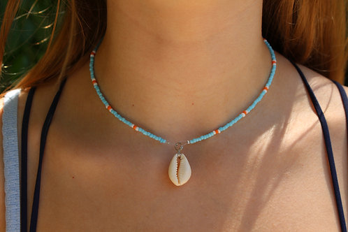 Blue and Orange Dot Cowrie Shell Necklace