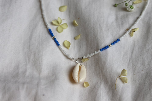 Cornflower Blue Cowrie Necklace