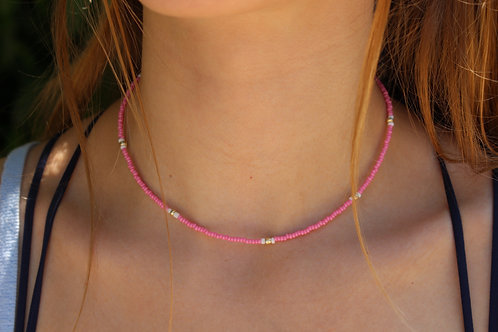 Hot Pink and Gold Necklace