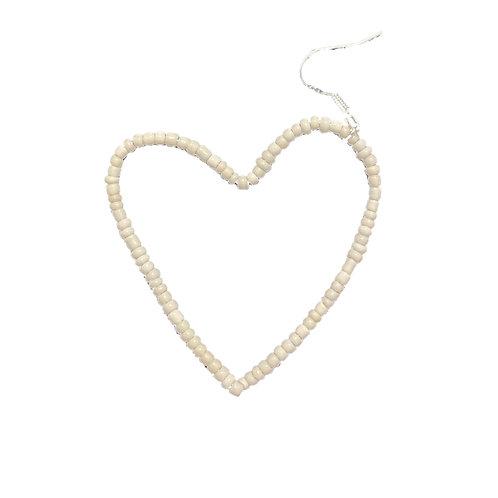 White Heart Earring
