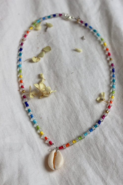 Crystal Rainbow Cowrie Shell Necklace
