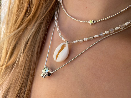 White Moon Cowrie Shell Necklace