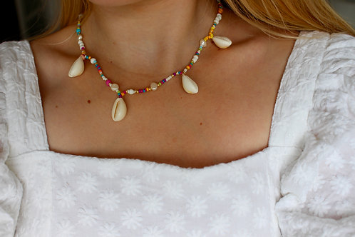 Sunbeam Cowrie shell and Pearl Necklace