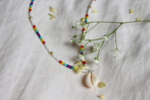 Rainbow and White Cowrie Necklace