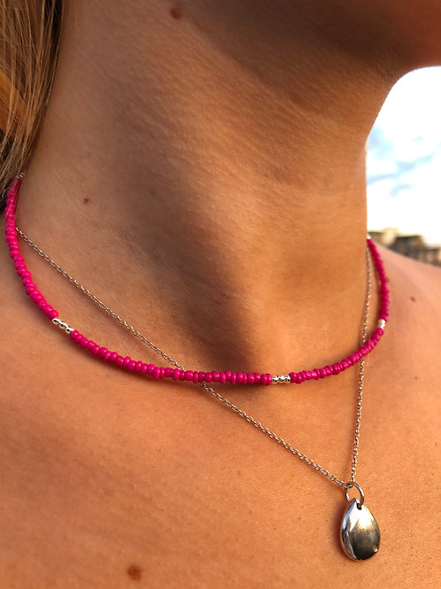 Pink Silver Flash Necklace
