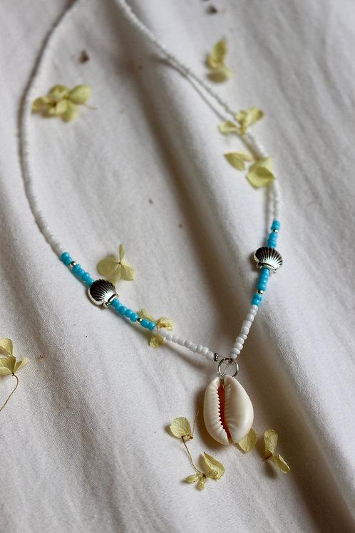 Powder Blue Clam Necklace
