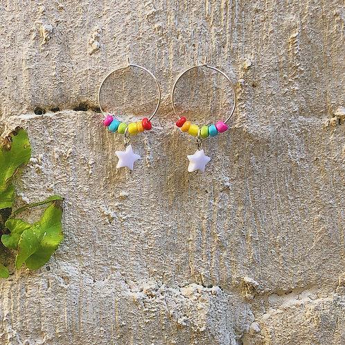 Small Rainbow Star Earrings