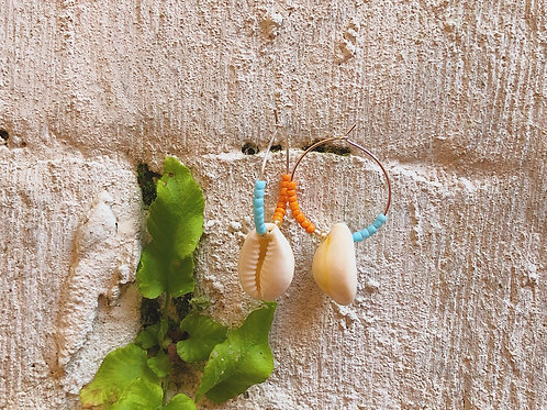 Mini Orange Wave Earrings