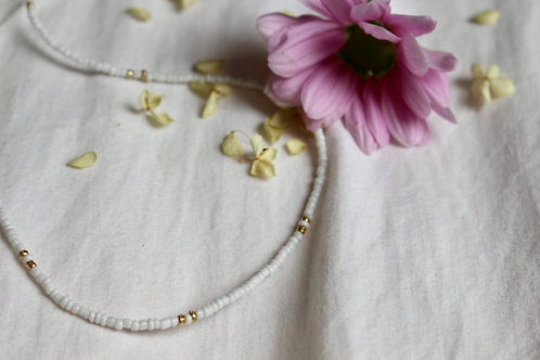 Gold Flower Beaded Necklace