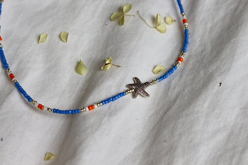 Tangerine Blue Starfish Necklace