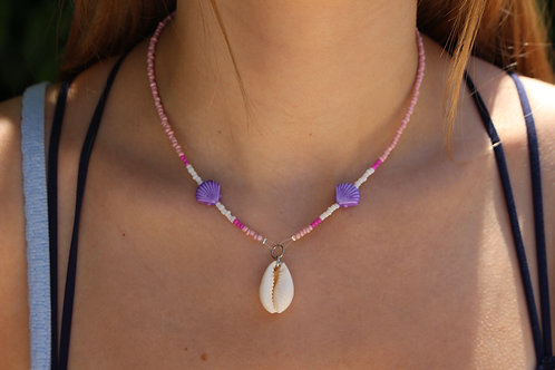 Pink and Purple Cowrie Shell Necklace