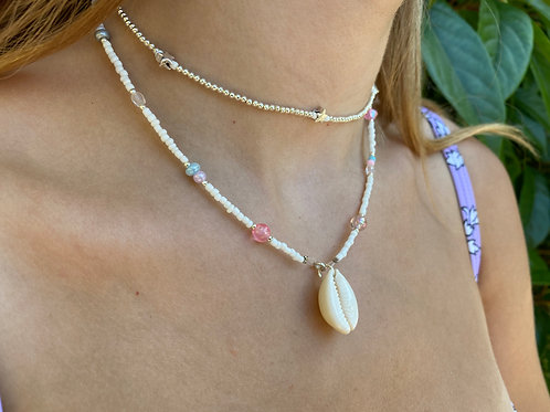 White and All Sorts Cowrie Shell Necklace