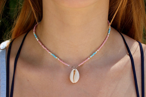 Blocks of Blue and Pink Cowrie Shell Necklace