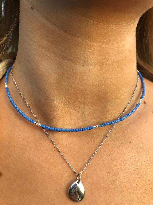 Cornflower Blue Silver Flash Necklace