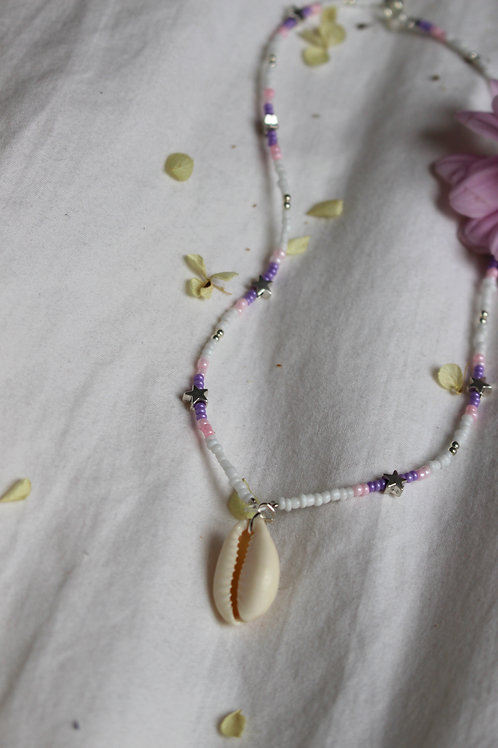 Blueberry Starburst Cowrie Shell Necklace