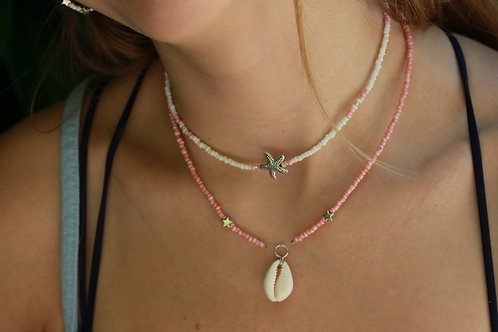 White and Pink Starfish Necklace