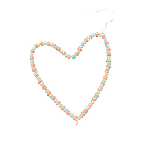 Pink and Blue Heart Earring