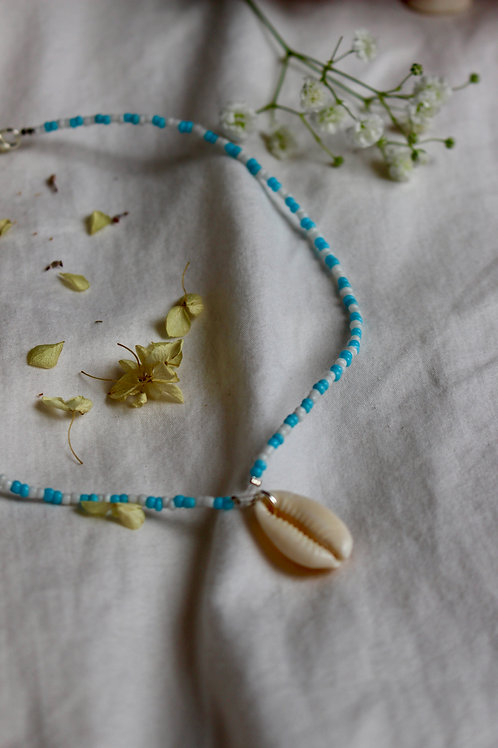 Clear Sky Cowrie Shell Necklace