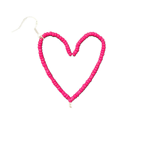 Dark Pink Heart Earring