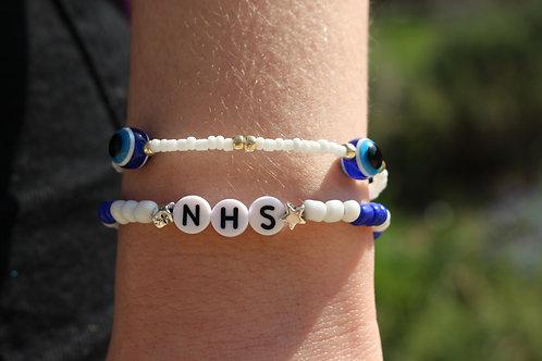 Star Blue and White NHS Bracelet