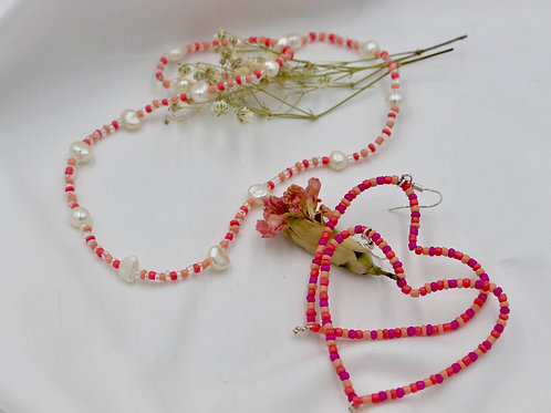 *SET OF PINK LOVE NECKLACE AND HEART HOOPS*