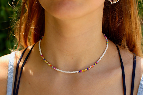 White and a Summer Muddle necklace