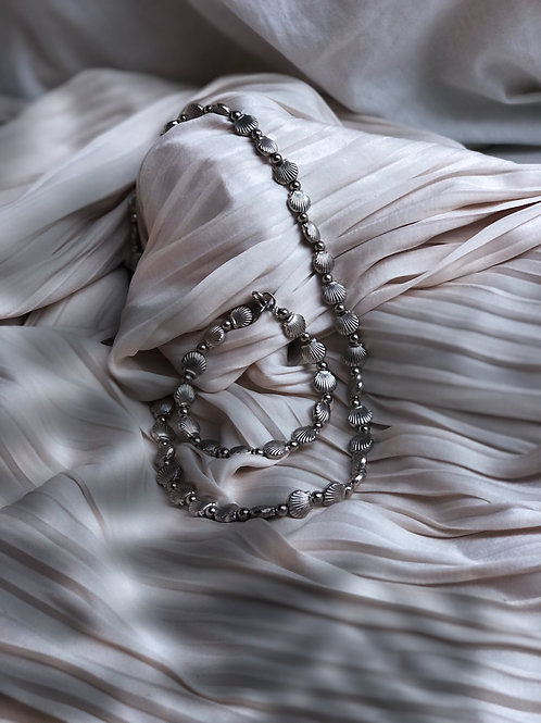 Silver Clam Necklace