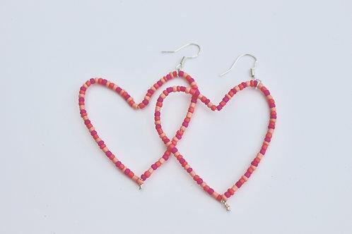 Pink Love Heart Earrings