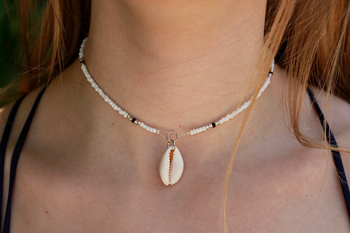 Silver and Black Cowrie Shell Necklace