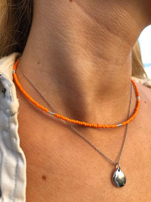 Orange Silver Flash Necklace