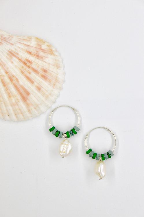 Green Pearl Drop Hoops