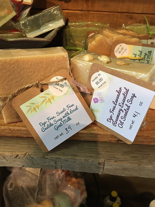 Dye Free soaps, variety of scented snd scent free