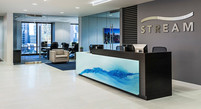 Back Painted Glass Stairs Reception Desk