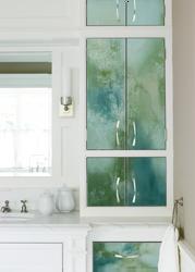 Bathroom Cabinet Glass Art Installation