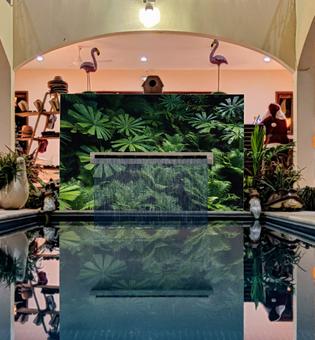 Indoor Pool Area Waterfall Mosaic Art