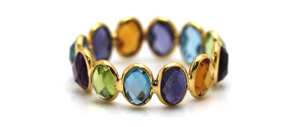 Oval Multicolor Gemstone Ring