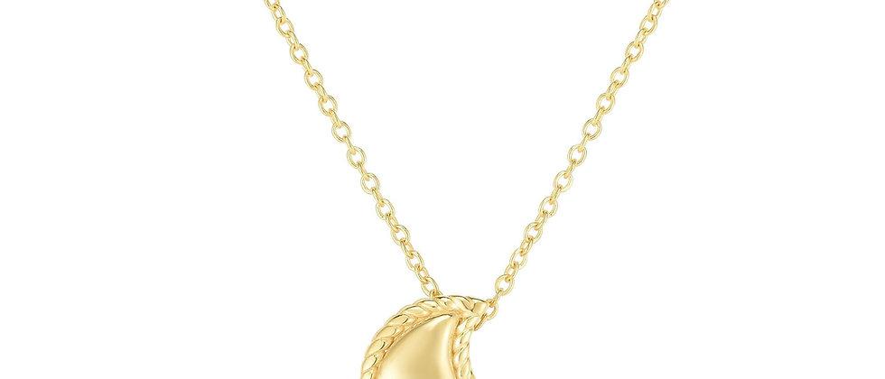14K Diamond Moon Necklace